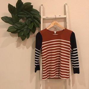 [J. Crew] Striped Color Block Long Sleeve Top